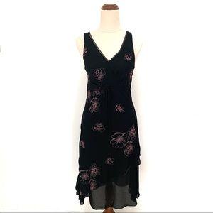 Black Dress with Pink Floral Design Size S